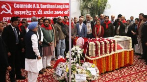 Former Prime Minister Manmohan Singh at the last farewell of senior CPI leader AB Bardhan who passed away in the capital New Delhi on saturday. Express Photo by Tashi Tobgyal New Delhi 041216